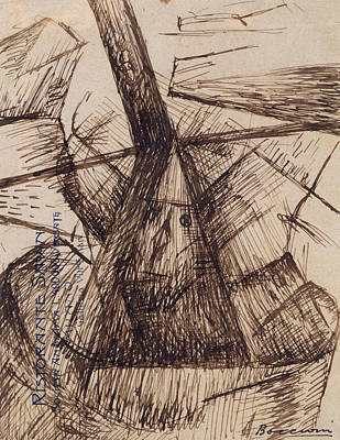 Boccioni Drawing - Study For Fusion Of A Head And A Window by Umberto Boccioni