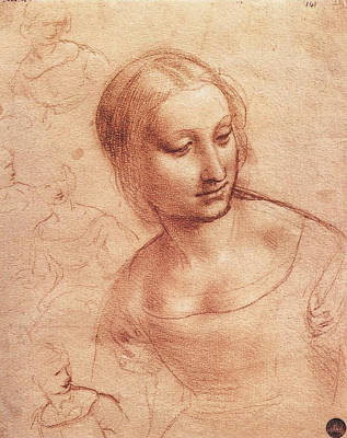 Mary Mother Of God Drawing - Study For Madonna With The Yarnwinder by Leonardo da Vinci
