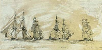 Study Of A Brig In Four Positions Art Print by Charles Gore