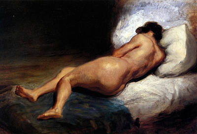 Bed Painting - Study Of A Reclining Nude by Eugene Delacroix