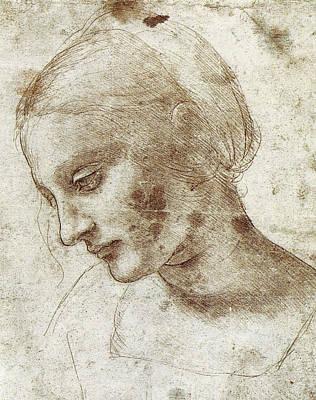 Closeup Drawing - Study Of A Woman's Head by Leonardo da Vinci