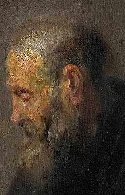 Process Painting - Study Of An Old Man In Profile by Rembrandt