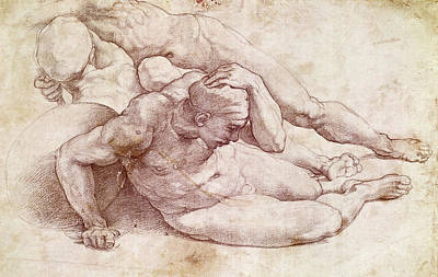 Exposed Drawing - Study Of Three Male Figures by Michelangelo Buonarroti