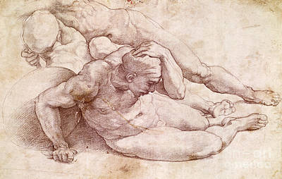 Homoerotic Drawing - Study Of Three Male Figures  by Michelangelo