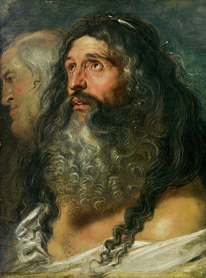 Beard Painting - Study Of Two Heads by Peter Paul Rubens
