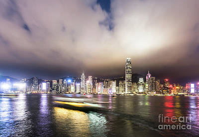 Photograph - Stunning View Of Hong Kong Island At Night.  by Didier Marti
