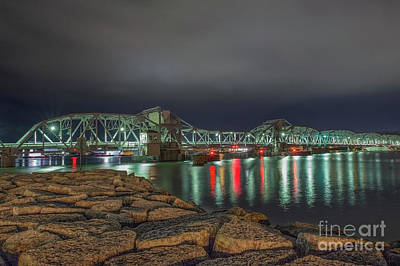 Nikki Vig Royalty-Free and Rights-Managed Images - Sturgeon Bay Steel Bridge at Night by Nikki Vig