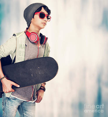 Photograph - Stylish Guy With Skateboard by Anna Om