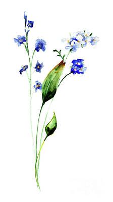 Painting - Stylized Flowers Watercolor Illustration by Regina Jershova