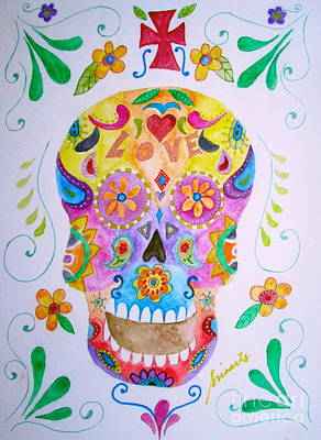 Painting - Sugar Skull Calavera by Pristine Cartera Turkus