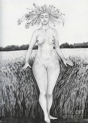 Art Print featuring the drawing Summer by Anna  Duyunova