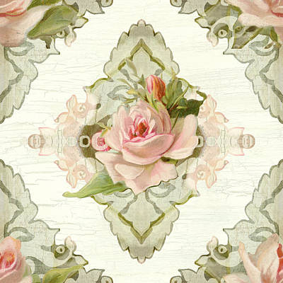 Painted Mixed Media - Summer At The Cottage - Vintage Style Damask Roses by Audrey Jeanne Roberts