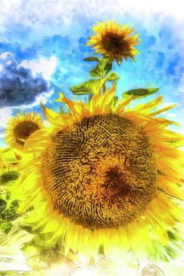 Photograph - Summer Day Sunflowers Art by David Pyatt