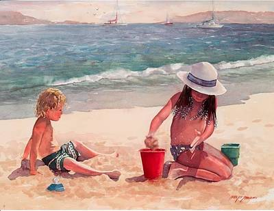 Kids Playing Painting - Summer Days by Laura Lee Zanghetti
