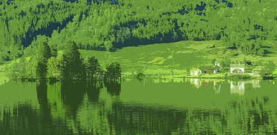Water Reflections Drawing - Summer In Norway by Mountain Dreams