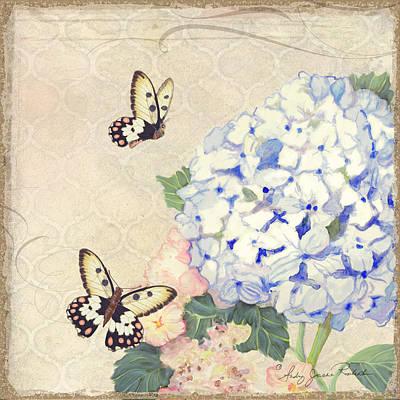 Summer Memories - Blue Hydrangea N Butterflies Art Print