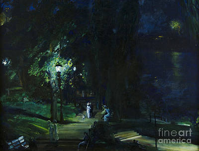 Night Lamp Painting - Summer Night Riverside Drive by MotionAge Designs