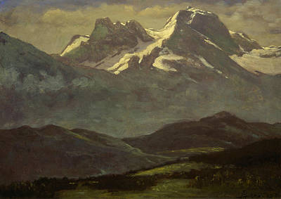 Summer Snow On The Peaks Or Snow Capped Mountains Art Print by Albert Bierstadt