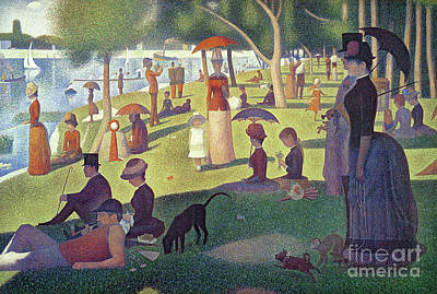 Riverbank Painting - Sunday Afternoon On The Island Of La Grande Jatte by Georges Pierre Seurat