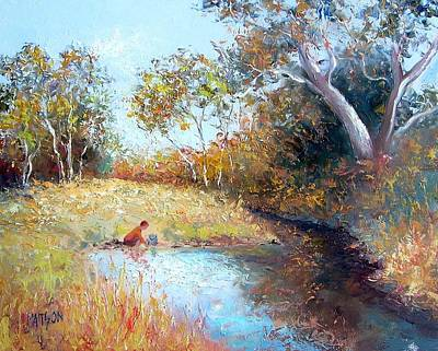 Autumn Scenes Painting - Sunday By The Creek by Jan Matson
