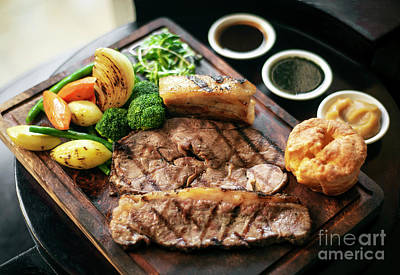 Photograph - Sunday Roast Beef Traditional British Meal Set On Table by Jacek Malipan
