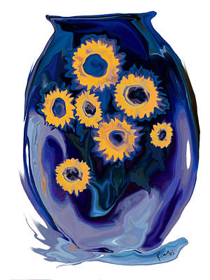 Art Print featuring the digital art Sunflower 1 by Rabi Khan