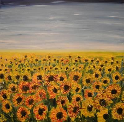 Sunflower Field Art Print by Carmen Kolcsar