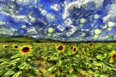 Mixed Media - Sunflower Field Van Gogh by David Pyatt
