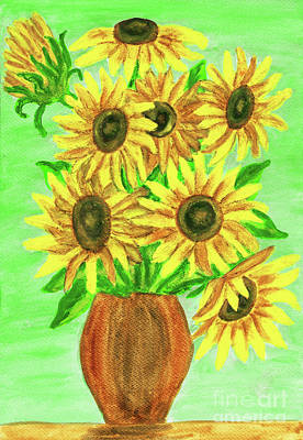 Painting - Sunflowers, On Green Painting by Irina Afonskaya