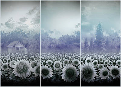 Nature Scene Painting - Sunflowers Triptych by Bekim Art