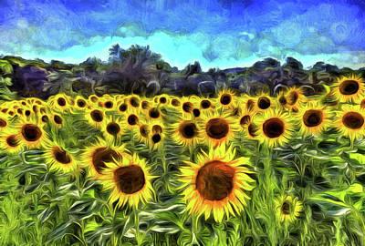Impressionism Photos - Sunflowers Van Gogh by David Pyatt