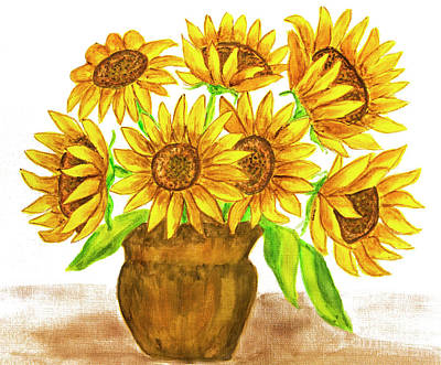 Painting - Sunflowers, Watercolours by Irina Afonskaya