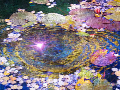 Painting - Sunglint On Autumn Lily Pond II by Anastasia Savage Ealy