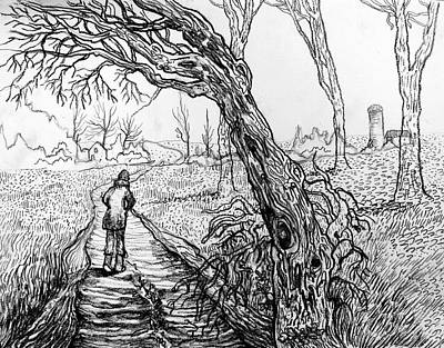 Indiana Landscapes Drawing - Sunken Road by James Huntley