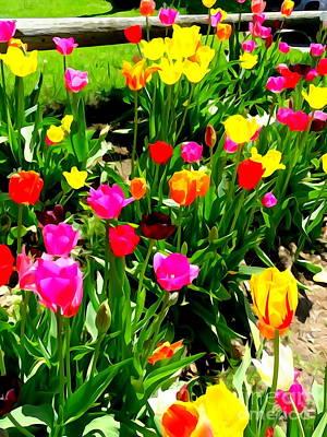 Digital Art - Sunlit Tulips #5 by Ed Weidman