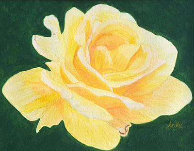 Knockout Painting - Sunny Knockout Rose by Anke Wheeler