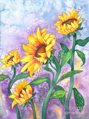 Art Print featuring the painting Sunny Sunflowers by Kristen Fox