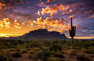 Photograph - Sunrise In The Superstitions  by Saija Lehtonen