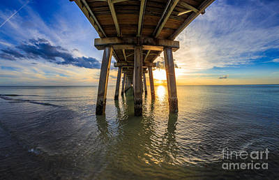 Photograph - Sunrise Naples Pier Florida by Hans- Juergen Leschmann