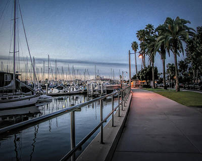 Docked Photograph - Sunrise Over Santa Barbara Marina by Tom Mc Nemar
