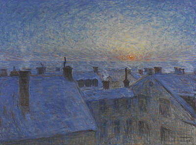 Painting - Sunrise Over The Rooftops. Motif From Stockholm by Eugene Jansson