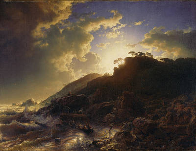 Andreas Achenbach Painting - Sunset After A Storm On The Coast Of Sicily by Andreas Achenbach
