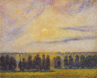 Sunset At Eragny Art Print by Camille Pissarro