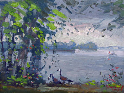 Duck Wall Art - Painting - Sunset At Goat Island by Ylli Haruni