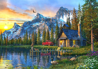 Rural Digital Art - Sunset At Log Cabin by Dominic Davison