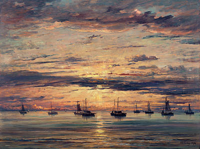 Painting - Sunset At Scheveningen,  A Fleet Of Fishing Vessels At Anchor, by Hendrik Willem Mesdag