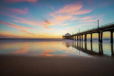 Redondo Beach Pier Wall Art - Photograph - Sunset At The Manhattan Beach California Pier by Daniel Solomon