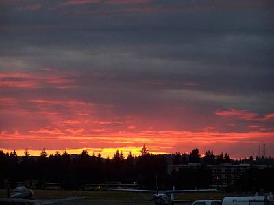 Sunset At Tumwater Art Print by Laurie Kidd