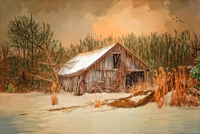 Dilapidated Barn Digital Art - Sunset Barn by Mary Timman