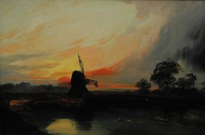 Sunset By The Windmill Art Print by MotionAge Designs